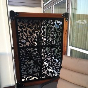 Metal gate with wood frame, Birds, 48'' x 72''