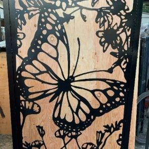 Pedestrian Gate, Garden Gate,Metal Art Gate, Butterfly, 3'x5'