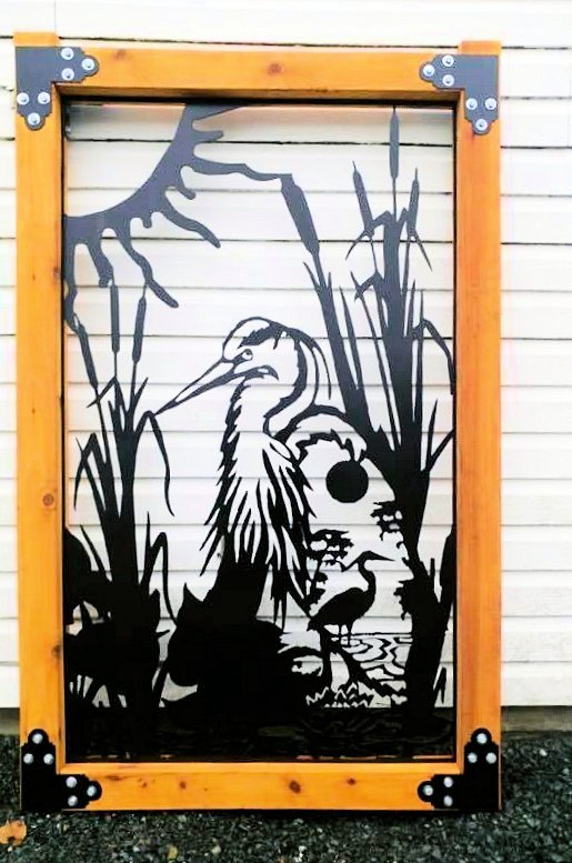 Metal gate with wood frame, heron, 3' x 5'