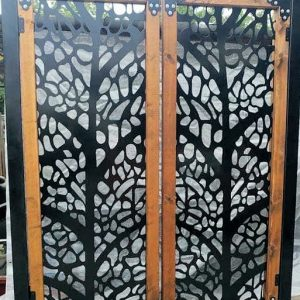 Metal gate with wood frame, trees, 3'x 5'