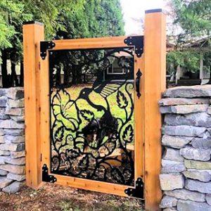 Metal gate with wood frame, Hummingbird, 4'x4'