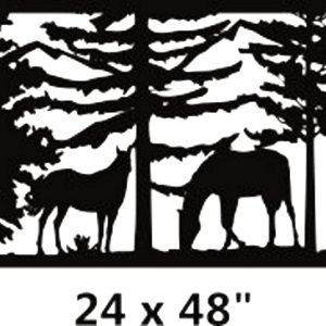Horse art panel,  Wall Hanging, Decorative Metal Railing art 24''X48''
