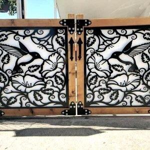 Metal gate with wood frame, Hummingbird, 3.5x3.5'