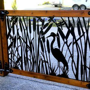 Metal gate with wood frame, Heron, 3.5'x3.5'