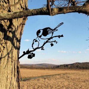 Chickadee and chick/metal birds on branch/Metal Bird/metal birds/Tree Bird/Yard art (Copy)