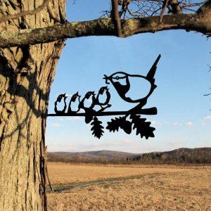 Chickadee and 4 chicks/metal birds on branch/Metal Bird/metal birds/Tree Bird/Yard art