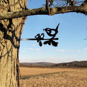 Chickadee and chick/metal birds on branch/Metal Bird/metal birds/Tree Bird