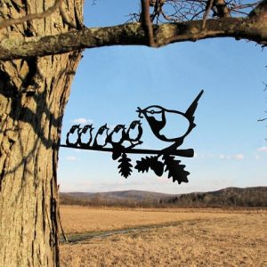 Chickadee and five babies/Metal Birds / metal birds/ /Tree Bird/Yard art