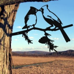 Metal Birds/ Cardinals kissing / metal birds/ /Tree Bird/Yard art